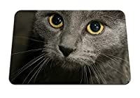 22cmx18cm マウスパッド (猫灰色の目黒い銃口) パターンカスタムの マウスパッド