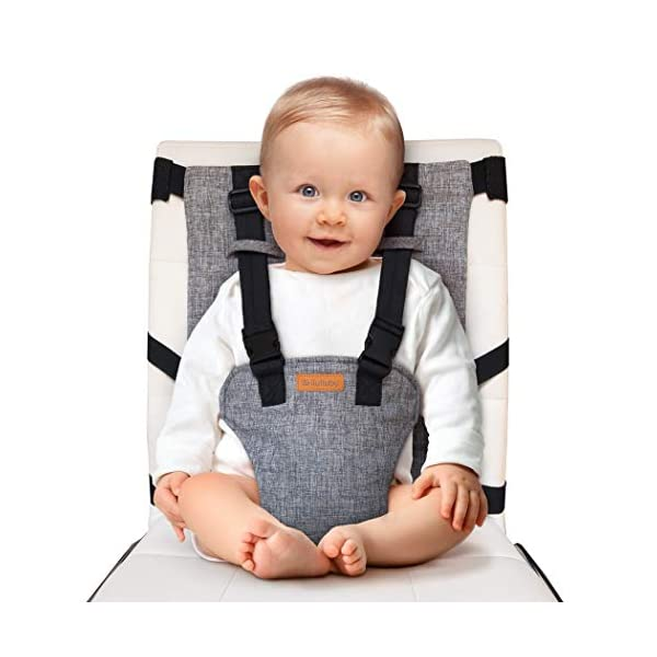 liuliuby On-The-Go Harness Seat – Padded Portable High Chair with Safety Harness, Travel Booster Seat for Babies and Toddlers – Compact and Washable