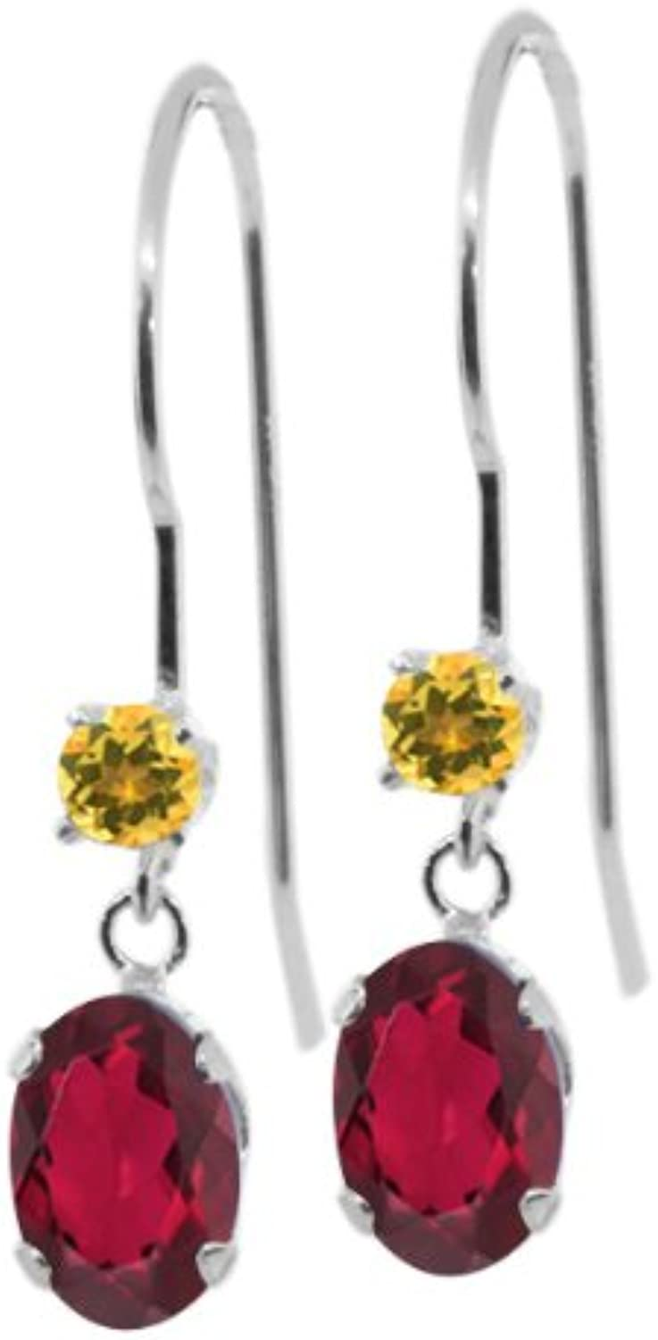 1.14 Ct Oval Red Mystic Topaz Yellow Simulated Citrine 14K White gold Earrings