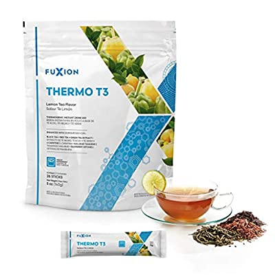 FuXion Thermo T3-Thermogenic Fat Burning Drink-Lemond Tea Flavor w. 100% Natural Ingredients L-Carnitine&Malabar Tamarind Transform Fat Into Energy (28 Sachets (1 Bag))