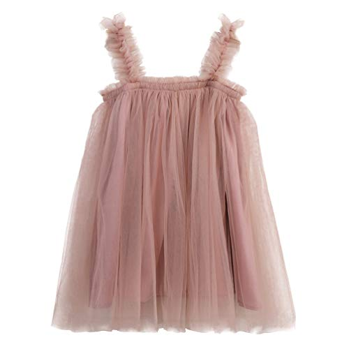 JNKLWPJS Baby Girls Tutu Dress Sleeveless Infant Toddler Princess Party Tulle Sundress B-Pink 12 Months