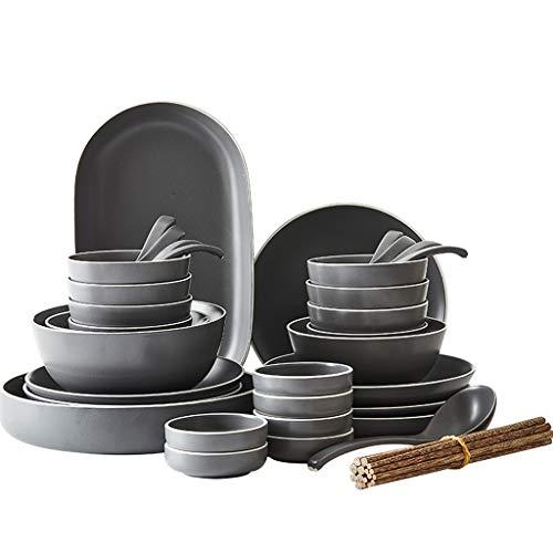 ZLDGYG Vajilla de la Cena, Platos para el hogar y Cuencos Cuencos y Platos de cerámica nórdicos Simples, Platos creativos de cerámica y Palillos