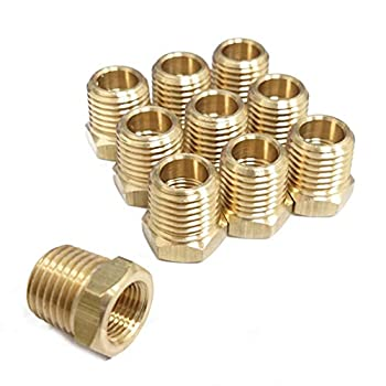 1/8  x 1/4  Brass Hex Bushing Female Pipe x Male Pipe NPT Pack of 10