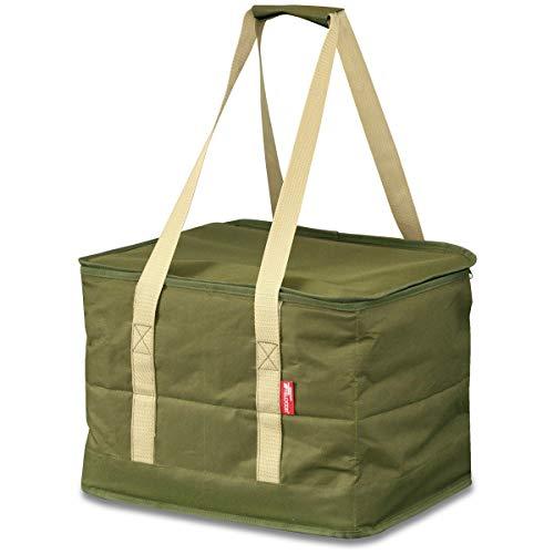 FIELDOOR マルチツールボックス 【Mサイズ/カーキ】 36L コンテナタイプ ペグケース 仕切り付 折りたたみ 道具入れ 小物入れ キャンプ用品 ツールバッグ