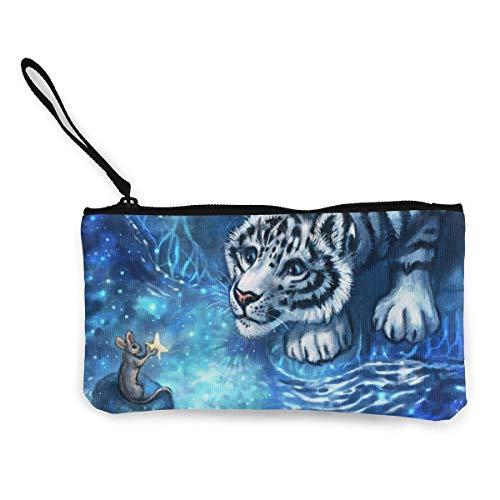 shibeili Schneeleopard und kleine Maus Damen Leinwand Geldbörse Mini Geldbörse Make-up Tasche, Handytasche mit Griff Brieftasche Tasche Wechselbeutel