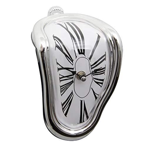 Divertido Reloj de Escritorio de Flujo de Tiempo de fusión de Mesa, Inspirado en Salvador Dali, Poser Sur Un Rebord (Color : Silver)