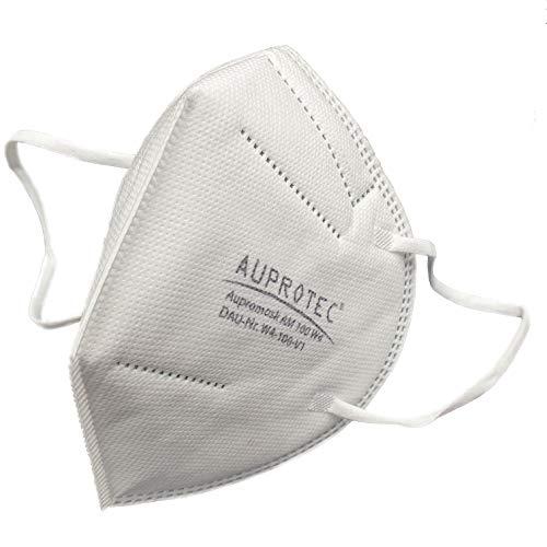 AUPROTEC 20 Stück Aupromask AM-100 Mehrweg Mundschutz Maske mit innen liegendem Vlies 5 lagig sehr gut für Mund- und Nasenschutz weiß
