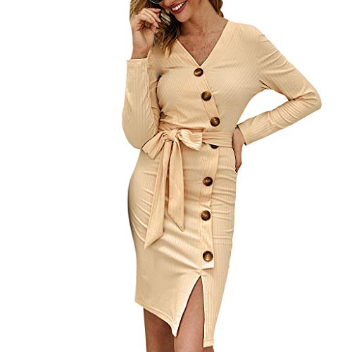 Find Bargain AgrinTol Womens Sexy Bandage Party Mini Dress Casual Ladies V-Neck Long Sleeves Button Bodycon Party Dress Beige