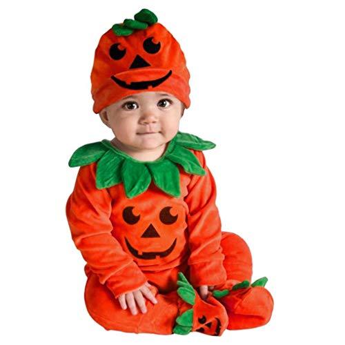 Fossen Kids Disfraz Halloween Bebe Niña Niño Calabaza Cremallera, Monos con Capucha y Manga Larga Disfraces Halloween Niñas Recien Nacido (Naranja-F, 0-6 Meses)