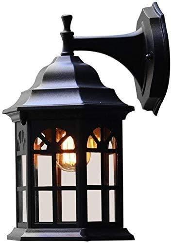 NZDY Soporte de Luz de Metal Soporte de Iluminación Lámpara de Pared Nórdica para Exteriores Vintage E27 Soporte de Luz Negro Exterior Metal Aluminio Vidrio Impermeable Ip23 para Jardín Sala de Estar