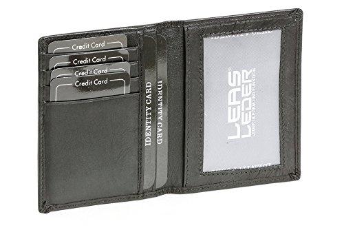 LEAS Caja de piel para DNI Tarjetero para DNI Tarjetero para tarjetas de crédito, Piel auténtica, negro Card-Collection''
