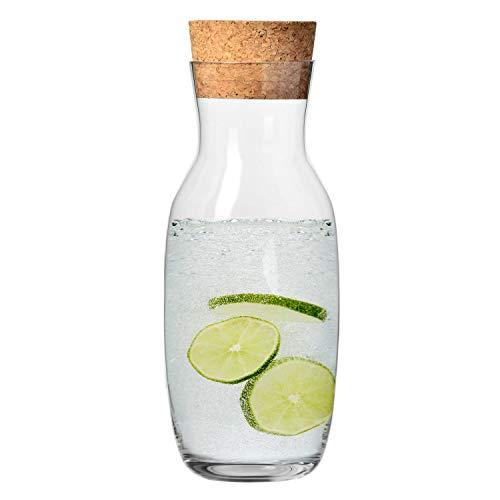 Krosno Wasserkaraffe mit Kork Deckel aus Glas | 1000 ML | Pure Kollektion | Perfekt für zu Hause, Restaurants und Partys | für Wasser und Säfte | Spülmaschinenfest und Mikrowellengeeignet