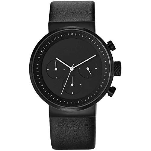 Projects Watches Kiura Black Chronograph Quarz Edelstahl IP Schwarz Leder Herren Uhren