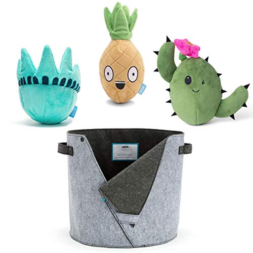 BarkBox Dog Toys and Storage Bin Value Bundle, 3-Pack Large Multi-Part Plush Squeaker Toys for Dogs and Puppies with Dog Toy Basket