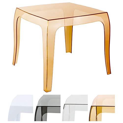 Table Design Queen en Plastique I Table d'Appoint Carrée Table d'Extérieur Empilable et Résistante aux Intempéries I Couleur:, Couleurs:Ambre