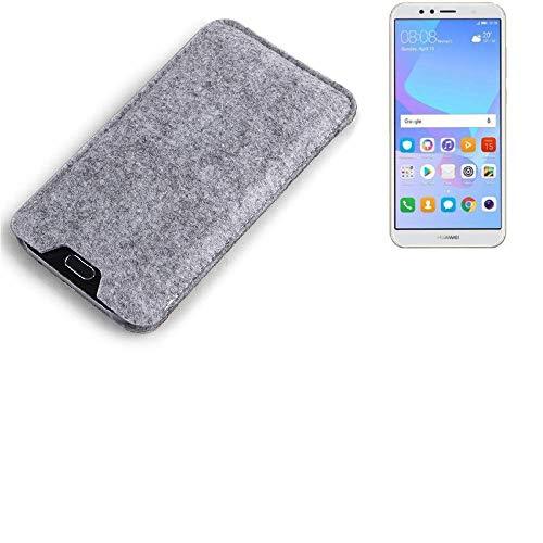 K-S-Trade Filz Schutz Hülle Für Huawei Y6 (2018) Dual-SIM Schutzhülle Filztasche Filz Tasche Hülle Sleeve Handyhülle Filzhülle Grau