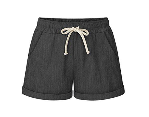 WSLCN Damen Shorts Bermuda Chino Sommer Kurze Hose Lose Strandshorts Denim-Schwarz DE S (Asie L)