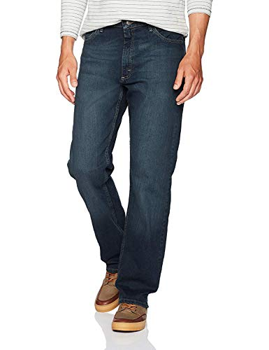 Wrangler Authentics Men's Classic 5-Pocket Relaxed Fit Jean, Military Blue Flex, 42W x 32L