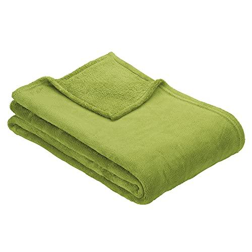 Ibena Olbia Decke 150x200 cm – Kuscheldecke grün, Sofadecke aus kuschelig weichen Mikrofaserflausch