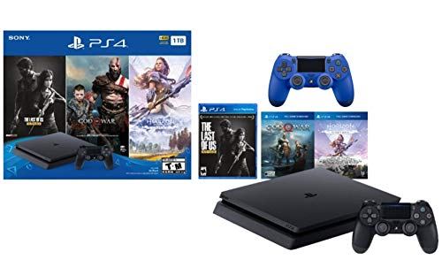 Sony PlayStation 4 1TB Holiday Bundle: PlayStation 4 1TB Slim Console Jet Black, The Last of Us:...