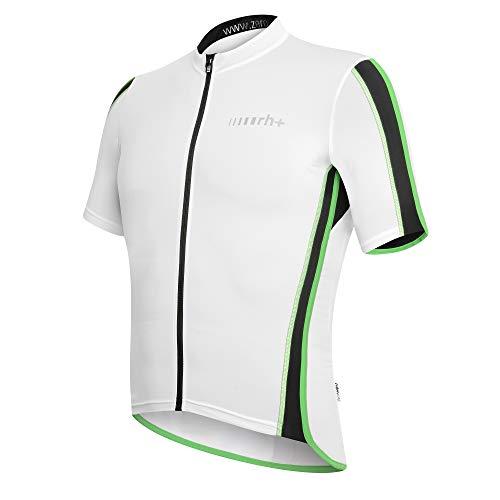 rh+ Sprint FZ, Speed Bike Jersey Hombre, White-Black-Bright Green, S