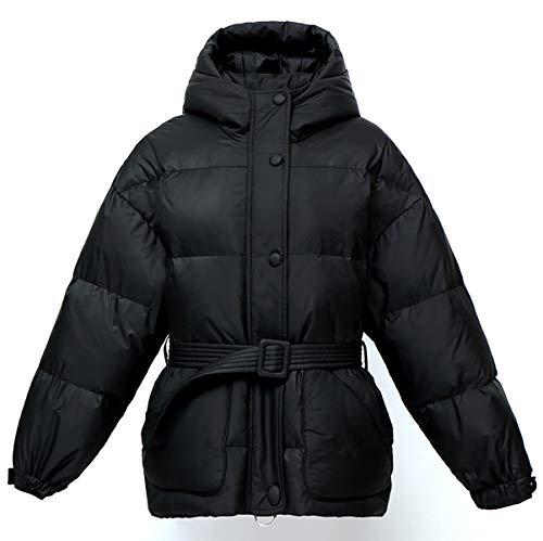 MJLAD Dames Mode Winter Jas, Dik Losse Jack, Warm Brood Jas met Riem, Stand kraag Hooded Korte Jas, Winter Lady's Gift