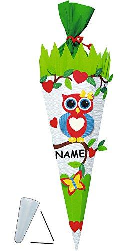 alles-meine.de GmbH BASTELSET Schultüte -  Eule auf AST  - 85 cm - incl. Namen - mit / ohne Kunststoff Spitze - Zuckertüte zum selber Basteln - 6 eckig Mädchen Eulen Vögel Schm..