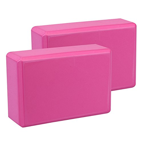 Exerz Bloques de Yoga 2 Piezas - Cómodo Ladrillo Yoga/Bloque de Espuma/Antideslizante - Ligero y fácil de Usar (Rosa)