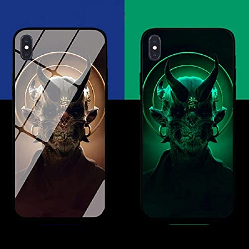 Resplandor Nocturno de Anime Estuche para Teléfono con Cordón Funda Protectora para iPhone Carcasa de Vidrio Templado Antifricción Hell Devil Serie Tendencia (Compatible con iPhone 7 Plus)