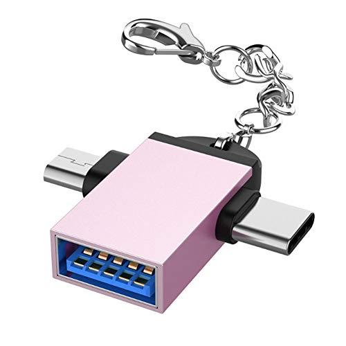 Adaptador Mini USB a USB C de alta velocidad,2 piezas Carcasa de aleación de aluminio Convertidor 2 en 1 OTG Adaptador USB 3.0 a Micro USB Tipo C con cadena para Android,para sincronización(Oro rosa)