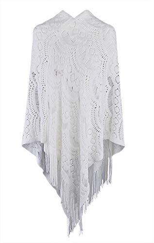 QZUnique Women's Sweater Cape Pullover Lace Shawl Tassles Knit Poncho-like Wrap,White,One Size