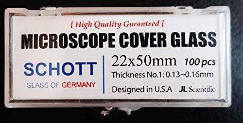Microscope Coverglass | 22x50mm | Coverslips | Coverslides German Borosilicate Glass | Thickness #1 .13-.16mm | JL Sceintific | Pack of 100 coverslips