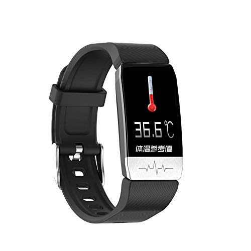 MEETGG Rastreadores de actividad física con medición de temperatura, reloj de actividad con monitor de sueño, pulsera impermeable con pantalla táctil