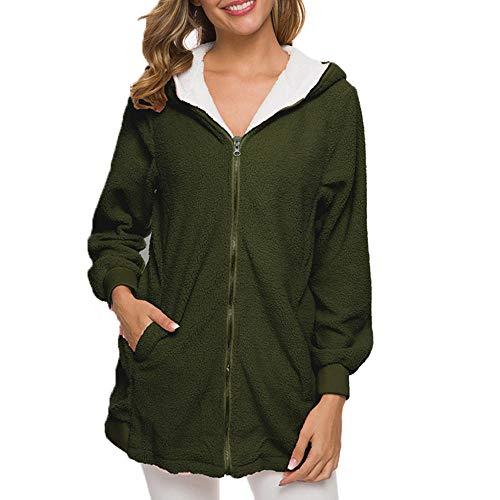YUQIBXC Sweatshirt voor dames met ritssluiting en capuchon, winterjas, mantel en manchetten aan de mouwen, winddicht, zacht, een goed cadeau voor de O Voi