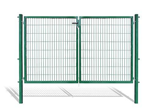 Doppelflügeltore für Stabmattenzaun, grün oder anthrazit, verschiedene Höhen wählbar - inklusive Pfosten und passenden Anschlussstücken (Doppeltor H 160 x B 300 cm, grün)