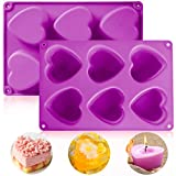 Fya Silicone Mold, Heart-Shaped 100% Food Grade Silicone Mold, Easy Release 3D Mold Perfect for DIY Soap, Resin Crafts, Chocolate, Cake, Jello (Purple)