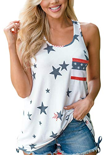 For G and PL July 4th Women Sleeveless Pocket Stars Striped Shirt Casual American Tank Top USA Flag White XL