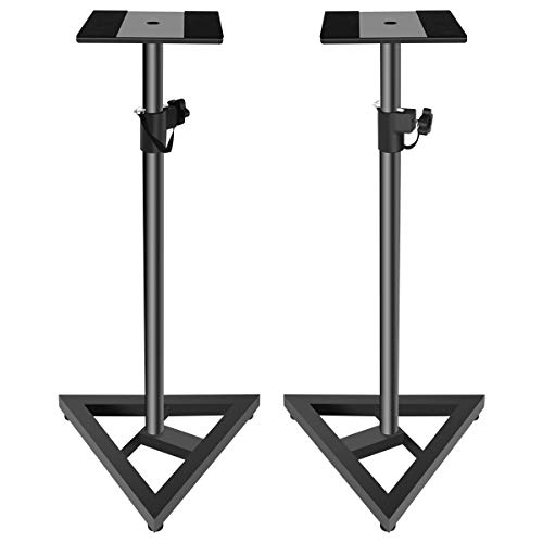 Doubleblack Soporte para Altavoces Home Cinema Pie Monitor Estudio Audio Altura Ajustable 76-137 cm Base Stand Metal 2 Piezas Negro