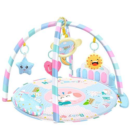 YLLHK Manta de Juegos Bebés, Alfombras de Juegos para NiñOs, Gimnasio de Actividades y Descubrimiento Musical con 5 Juguetes Desmontables, para Primera Infancia 1-15 Meses, Azul Claro