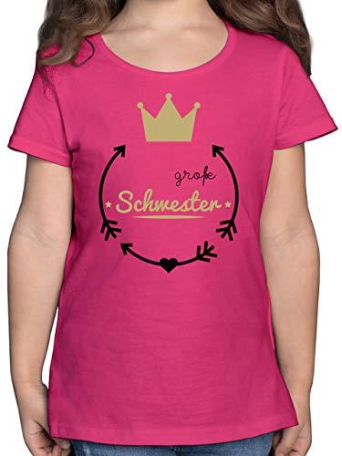 Geschwister Schwester - Große Schwester - Krone - 140 (9/11 Jahre) - Fuchsia - große Schwester 122 - F131K - Mädchen Kinder T-Shirt