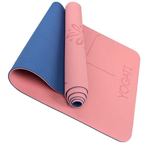 YOGATI - Tapis de Yoga Antidérapant, Epais, Ecologique et Non Toxique en TPE avec des repères d alignement du Corps. Un Tapis Yoga Parfait pour Sport au Sol, Gym et Fitness - Yoga Mat