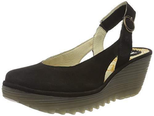 FLY London Womens Ylux Cupido Slingback Closed Toe Work Wedge Heel Shoes - Black - US10/EU41