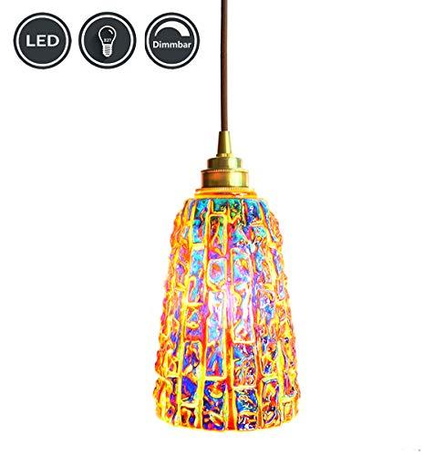 XODZASG Pendelleuchte,Vintage Hängeleuchte,Glas Hängelampe,für Küche Esszimmer Wohnzimmer,Mit E27 LED Birne (Buntes Glas + Dimmbar)