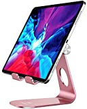 Doboli Tablet Stand Tablet Holder for Desk Adjustable Stand Foldable Tablet Holder Compatible with Ipad Galaxy Tab iPhone Kindle Rose Gold