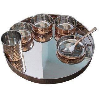 TreegoArt Juego de vajilla de acero de cobre Thali, cuencos, cuchara, plato halwa, cristal, estilo tradicional, 7 piezas, diámetro de Thali 33 cm