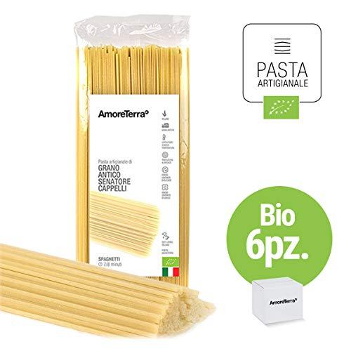 AmoreTerra (6 Pz.) Spaghetti BIO Senatore Cappelli 500g, pasta artigianale grani antichi bio trafilata al bronzo lenta essiccazione statica