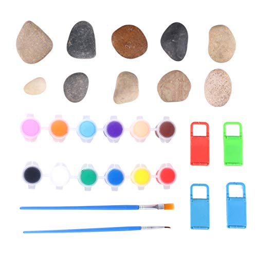 HEALLILY 1 Set Painting Stone Kit Rock Art Kit Drawing Stone with 12 Colors Pigment Paintbrush Bracket for Stone Craft Art