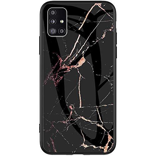 Kompatibel mit Samsung Galaxy A51 Hülle Marmor Muster Schutzhülle[Gehärtetes Glas]Glänzend Glitzer Silikon TPU Handyhülle Tasche Stoßfest Bumper Case für Galaxy A51,Gold