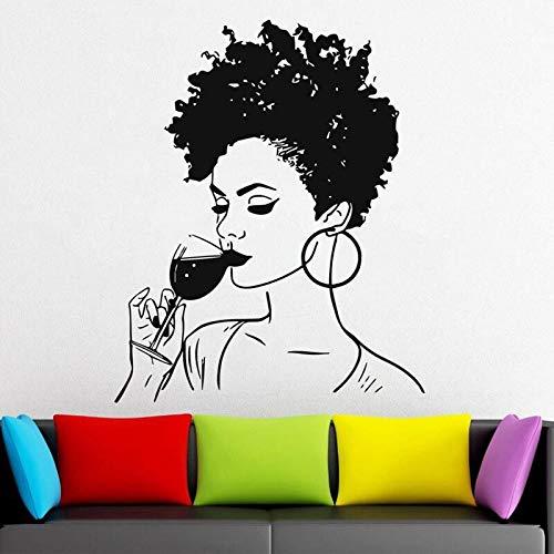 Hermosa mujer africana calcomanía de pared chica africana pegatina calcomanía salón de belleza estudio pared arte Mural papel tapiz otro color 42x52cm