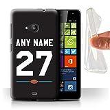 eSwish Personalisiert Persönlich Amerikanischer Fußball Jersey 2 Gel/TPU Hülle für Microsoft Lumia 535 / Schwarz Design/Initiale/Name/Text Schutzhülle/Hülle/Etui